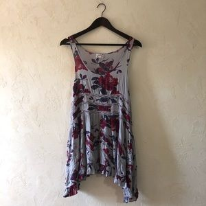 Free People Purple Floral Lace Tank Tunic Top S